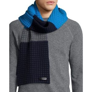 New Burberry Men's Striped Waffle-Knit Scarf